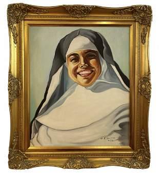 Nun Portrait Oil on Canvas by A.J. Smith 1976