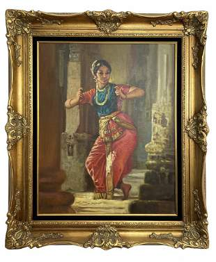 Indian Dancer by Ramo - Oil Painting on Canvas - Signed