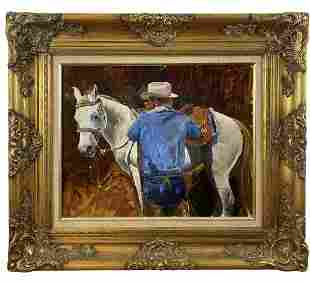 Portrait of a Cowboy with horse Oil Painting on Panel