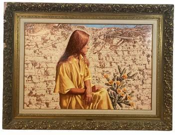 Meditation by L. B. Porter - Huge Oil Painting On Panel
