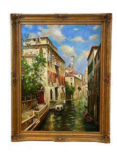 Venice, Italy Large Oil Painting by M. Rose