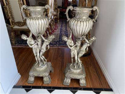 Large Pair of Bronze Urns