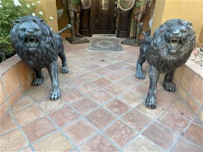 Pair of Huge Bronze Lions Sculptures