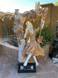 Life size Swing Marble Lady Sculpture