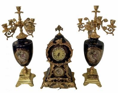 Porcelain and Metal Clock Set