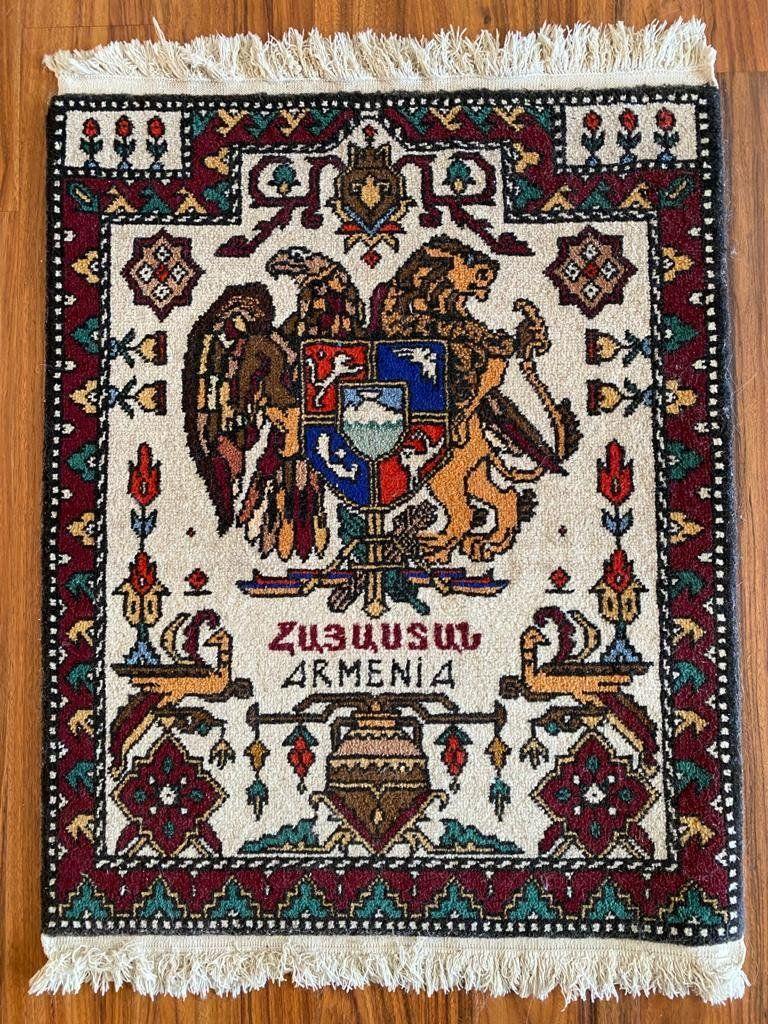 Armenian national coat of arms handmade Vintage Rug
