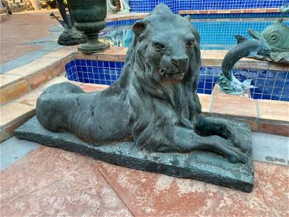 Pair of Massive Bronze Lions Sculptures