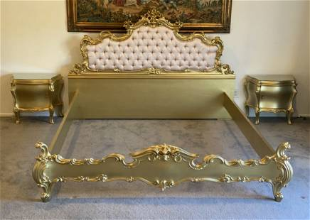 Italian Silik Bed and Two Night Stands