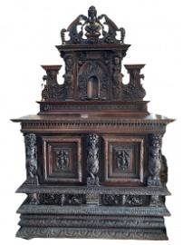 17th Century Henry II Style Carved Walnut Cabinet