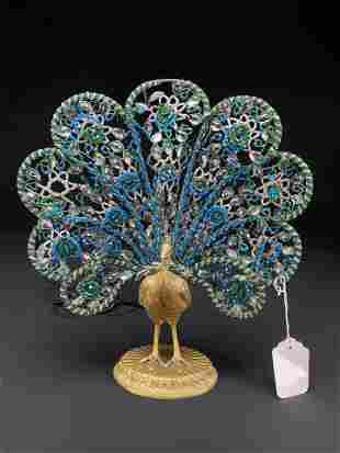 French Art Deco Gilt Bronze Peacock Form Lamp
