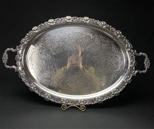 Large, Heavy Antique English Silver Plated Serving Tray