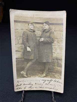Antique RFP Real Photo Postcard Depicting Two Soldiers