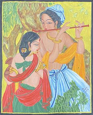 Vintage Indian gouache painting by Nusrath 1961