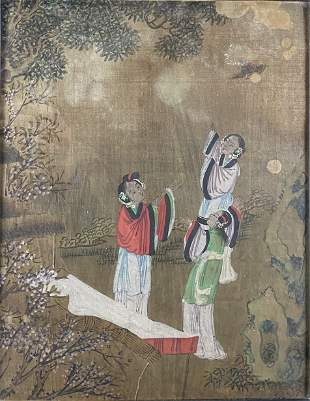 Pair of very fine antique Chinese watercolor paintings