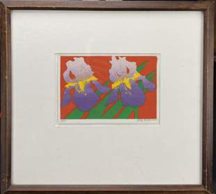 "Original pop art lithograph titled ""Iris"" by Ely Holz"