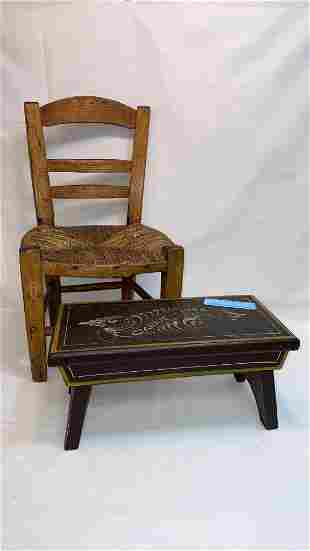 """PAINT DECORATED STOOL """"CARRIE-1944 & ANTIQUE"""