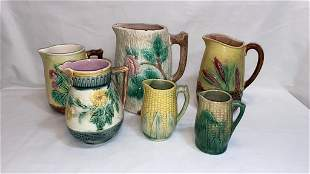 6 VARIOUS MAJOLICA PITCHERS