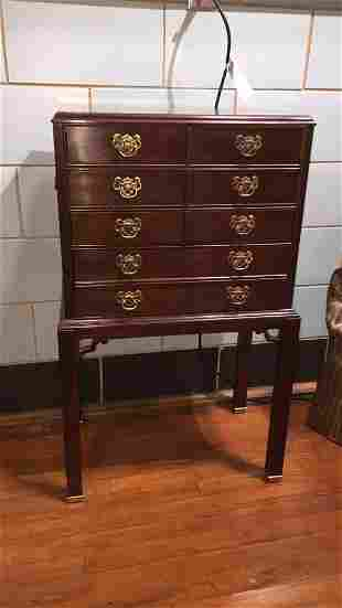 THOMASVILLE MAHOGANY CHIPPENDALE SILVER CHEST