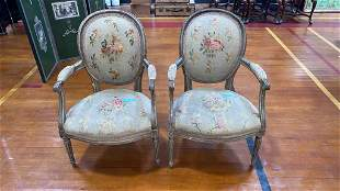 PAIR ANTIQUE FRENCH NEEDLEPOINT ARM CHAIRS