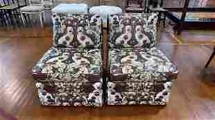 BAKER FURNITURE PAIR DOG UPHOLSTERED SIDE CHAIRS