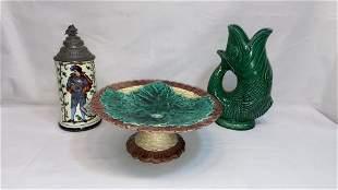 MAJOLICA PITCHER, PLATEAU, & LITHOPAINE STEIN