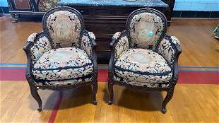PAIR CARVED FRENCH NEEDLEPOINT CHAIRS