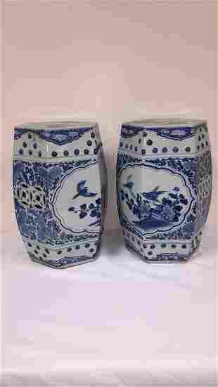 PAIR ANTIQUE BLUE AND WHITE ORIENTAL GARDEN SEATS