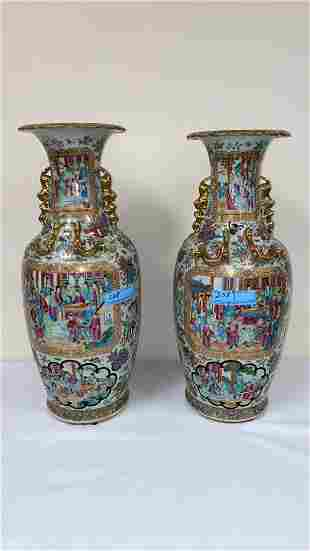 PAIR ANTIQUE ROSE MEDALLION VASES W/GOLD