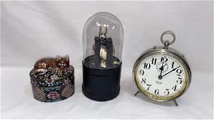 CLOISONNE CAT BOX, ALARM CLOCK, INSTRUMENT/ TOOL