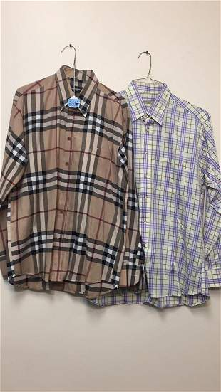 2 PC MENS  BURBERRY SHIRTS - ALL SIZE LARGE