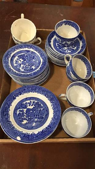 PARTIAL SET OF BLUE WILLOW DISHES