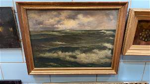 ANTIQUE OIL PAINTING ON CANVAS OF SEASCAPE