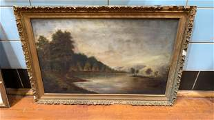 OIL PAINTING ON CANVAS OF LAKE SCENE