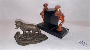PAIR COWGIRL BOOKENDS & SIGNED BRONZE WOLF