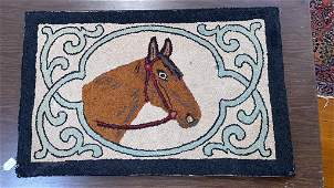 2 HORSE THEMED HOOKED RUGS