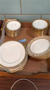 BOX LOT ANTIQUE PLATES, LIMOGES, WEDGWOOD, BOOTHES