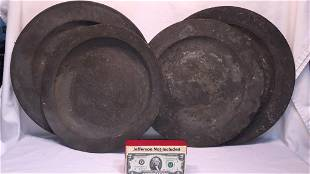 4 LG ROUND PEWTER PLATTERS / CHARGERS
