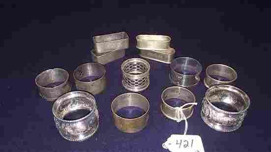 13 VARIOUS STERLING NAPKIN RINGS ~ 9.29 OZT
