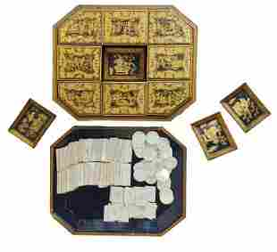 Chinese Canton export lacquer game box (early 19th c)