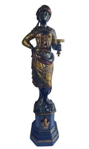 Venetian carved 6' Blackamoor on pedestal