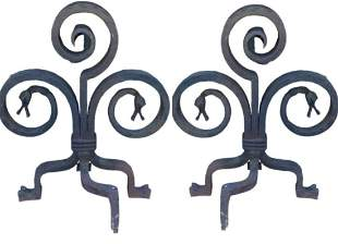 Pair of forged iron fireplace and irons