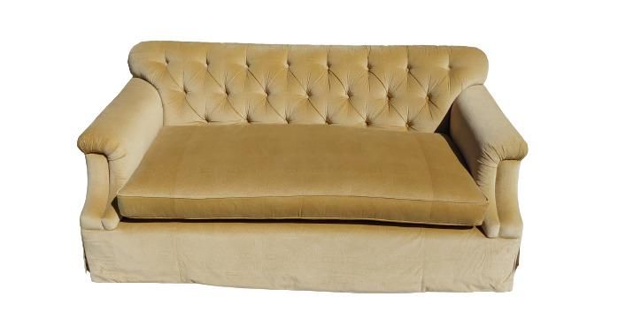 Vintage Hollywood Regency Gold velvet fabric tufted