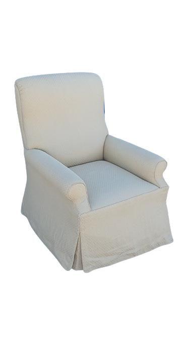 Custom covered yellow armchair