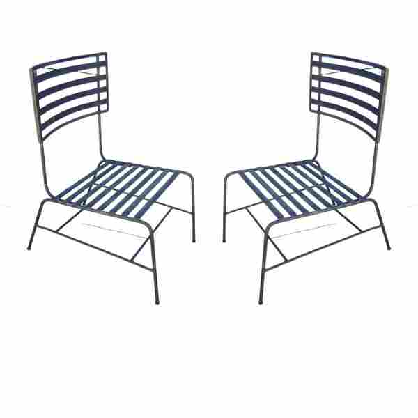 Pair of Mid-century metal outdoor chairs