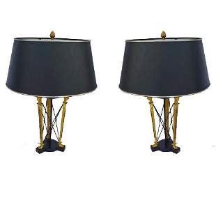 Pair of empire style gilt bronze and tole cassolettes