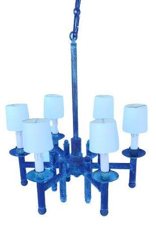 Mission style brass chandelier