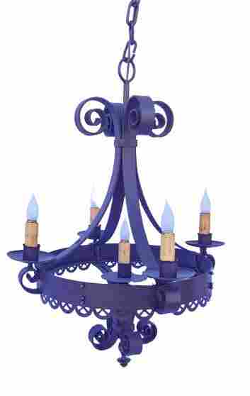 French wrought iron style scroll candelabra chandelier