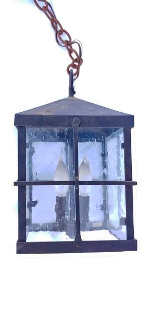 Square paned outdoor hanging lantern