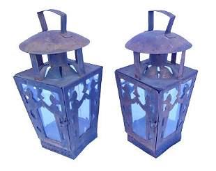 Pair of Large patinated lanterns