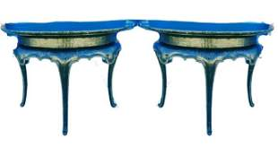 A pair of black crackle lacquered pier tables
